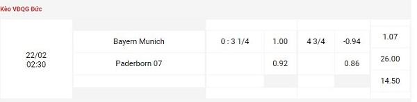 Tỉ lệ kèo nhà cái Bayern Munich vs Paderborn