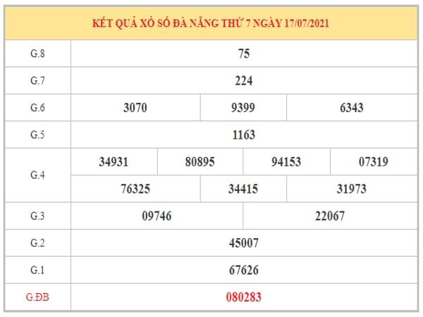Thống kê KQXSDNG ngày 21/7/2021 dựa trên kết quả kì trước